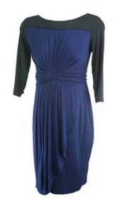 *New* Navy and Black A Pea in the Pod Maternity Boot Neck Special Occasion Maternity Dress (Size Medium)