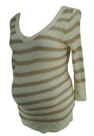 *New* Cream A Pea in the Pod Maternity Linen Tunic Knit Maternity Sweater (Size Large)