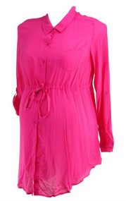 *New* Hot Pink A Pea in the Pod Maternity Button Down Career Maternity Tunic (Size Large)