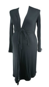 *New* Black A Pea in the Pod Maternity Adjustable Tie Maternity Robe (Size Large)