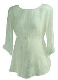 White A Pea in the Pod Maternity Boot Neck See Through Career Maternity Blouse (Like New - Size Small)