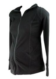 *New* Black Inner Bliss Designed for A Pea in the Pod Maternity Active Lined Zip-Up Maternity Sweater (Size X-Small)