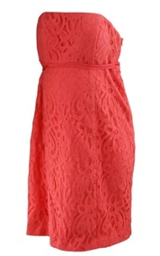 *New* Coral A Pea in the Pod Maternity Lace Maternity Strapless Cocktail Dress (Size Large)