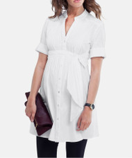 White Isabella Oliver Libby Pleated Maternity Tunic (Like New - Size 1)