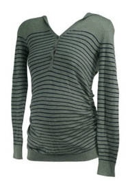 *New* Gray and Blue Striped Motherhood Maternity Hooded Button Down Ruched Maternity Tunic (Size X-Small)