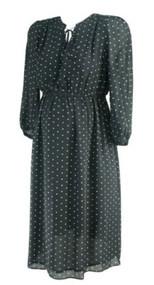Black Polk-A-Dot Ann Taylor Loft Maternity Long Sleeve Career Maternity Dress (Like New - Size Medium)
