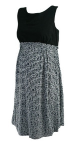 Black and Black Print Seraphine Maternity Sleeveless Career Maternity Dress (Like New - Size 10)