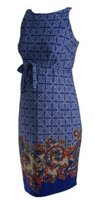Blue A Pea in the Pod Maternity Paisley Print Sleeveless Career Maternity Dress (Like New - Size Small)