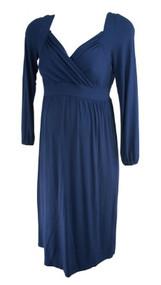 Slate Blue Ripe Maternity Australia V-Neck Crossover Maternity Dress (Gently Used - Size Medium)