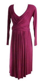 Dusty Rose Olian Maternity Long Sleeve Career Wrap Maternity Dress (Gently Used - Size Medium)