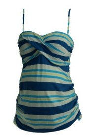 *New* Blue Striped A Pea in the Pod Maternity Ruched Sailor Maternity Tankini (Size Large)