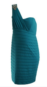 *New* Turquoise A Pea in the Pod Maternity One Shoulder Special Occasion Maternity Dress (Size Large)