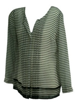 83c45b6403 ... Button Down Long Sleeve Sheer Striped Maternity Blouse (Size Medium).  Image 1