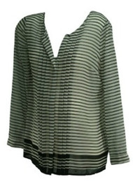 *New* Black & White A Pea in the Pod Maternity Button Down Long Sleeve Sheer Striped Maternity Blouse (Size Medium)