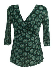 Green Floral Print Dione von Furstenberg Maternity Crossover Ruched 3/4 Sleeve Blouse (Like New - Size Large)