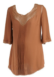 *New* Burnt Sienna Daniel Rainn Maternity 3/4 Sleeve Laser Cut Crochet Blouse (Size Medium)