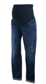 Dark Wash Led Maternity Full Panel Distressed Cuffed Maternity Skinny Jeans (Gently Used - Size 29)