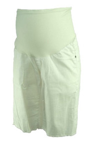 White Indigo Blue Maternity Full Panel Maternity Frayed Hem Capri Shorts (Gently Used - Size Medium)