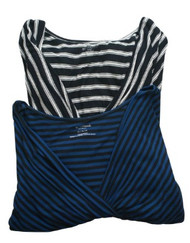 Striped Lot of 2 Motherhood Maternity V-Neck Cross Over Maternity Top (Gently Used - Size Medium)