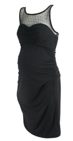 *New* Black A Pea in the Pod Maternity Special Occasion Ruched Maternity Dress (Size Medium)