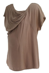 *New* Light Brown A Pea in the Pod Maternity Collection Loose Silk Maternity Blouse (Size Medium)