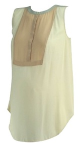 Peach and Pink Ann Taylor Loft Maternity Sleeveless Button Down Career Maternity Blouse (Like New - Size Small/Medium)
