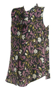 Purple Ann Taylor Loft Maternity Sleeveless Adjustable Neck Tie Career Maternity Blouse (Like New - Size Small/Medium)