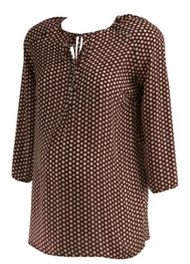 Maroon Misoka Maternity for A Pea in the Pod Maternity Polk-A-Dot Print Button Up Maternity Blouse (Like New - Size Small)