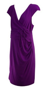 *New* Electric Purple A Pea in the Pod Maternity Crossover Belted Maternity Dress (Size Large)