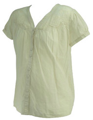 *New* Cream A Pea in the Pod Maternity Button Down Crochet Maternity Blouse (Size Medium)