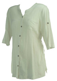 *New* Off-White A Pea in the Pod Maternity Button Down Belted Maternity Blouse (Size Medium)
