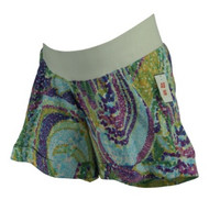 *New* Purple and Green A Pea in the Pod Maternity Dotted Print Summer Maternity Shorts (Size Large)