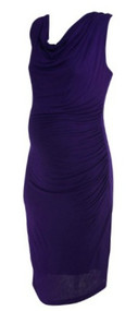 *New* Eggplant Drew for A Pea in the Pod Collection Ruched Casual Cowl Neck Maternity Dress (Size Large)