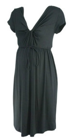 Black A Pea in the Pod Maternity Knot Tie Casual Maternity Dress (Gently Used - Size Large)