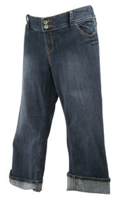 Charcoal Paris Blues Maternity Acid Wash Cuffed Capri Maternity Jeans (Gently Used - Size Large)