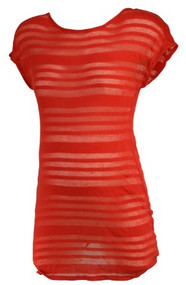 *New* Bright Terracotta A Pea in the Pod Maternity Sheer Stripe Casual Maternity T-Shirt (Size Medium)