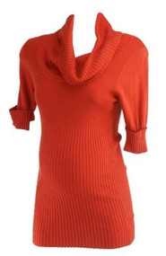 Burnt Orange A Pea in the Pod Maternity Cowl Neck 3/4 Sleeve Maternity Top (Like New - Size Medium)