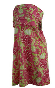 *New* Pink Lily Pulitcer for A Pea in the Pod Collection Maternity Strapless Floral Print Maternity Dress (Size Medium)