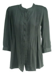 Black Rosie Pope Maternity Button Down Pleated Maternity Blouse (Like New - Size Large)