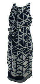 *New* Black and Gray A Pea in the Pod Maternity Geometric Print Belted Versatile Maternity Dress (Size Small)