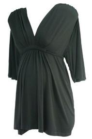 Black Olian Maternity V-Neck Wide 3/4 Sleeve Casual Blouse (Gently Used - Size Large)