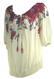 Cream Olian Maternity Off the Shoulder Floral Print 3/4 Sleeve Maternity Top (Gently Used - Size Large)