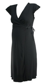 Black Mimi Maternity Lettuce Trim Wrap Maternity Dress (Gently Used - Size Small)