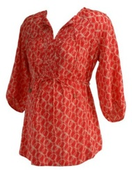 Coral Motherhood Maternity 3/4 Sleeve Oval Print Maternity Pleated Blouse (Gently Used - Size Small)