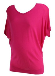 Pink Loft Maternity Bat Winged Short Sleeve V-Neck Sweater (Gently Used - Size Small)
