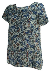 Blue Water Color Loft Maternity Chiffon Short Sleeve Maternity Blouse (Gently Used - Size X-Small)