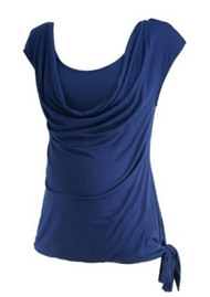 Navy A Pea in the Pod Maternity Short Sleeve Cowl Neck Maternity Top (Gently Used - Size Small)