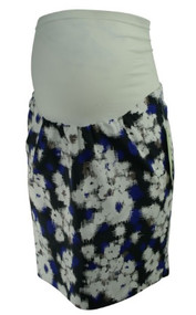 *New* Blue, White and Black A Pea in the Pod Maternity Secret Fit Career Maternity Skirt (Size Small)