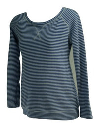 Blue A Pea in the Pod Maternity Long Sleeve Casual Striped Top (Gently Used - Size Medium)