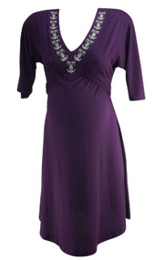 Plum Everly Grey Maternity 3/4 Embroidered Maternity Dress (Gently Used - Size X-Small)